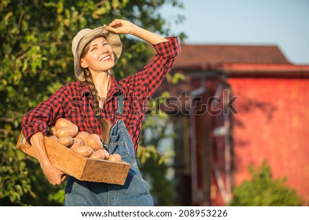Woman farmer carrying crate with freshly harvested vegetables in garden - stock photo
