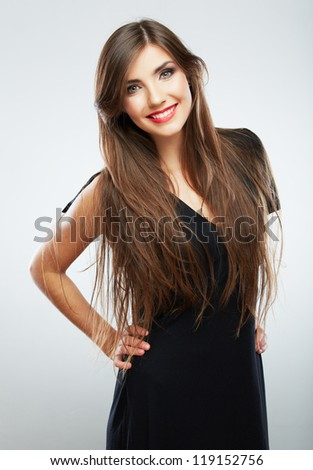Woman fashion beauty portrait. Evening black dress. Young beauty model with long hair - stock photo