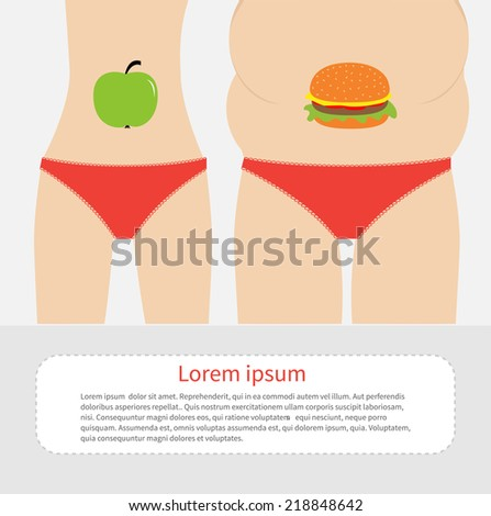 Woman fat and skinny figure red underwear. Healthy unhealthy food apple hamburger Before after infographic Flat design  - stock photo