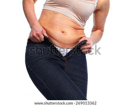 Woman fat belly. Diet and weight loss concept. - stock photo