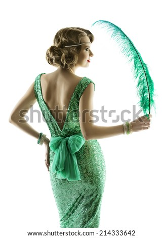 Woman feather in fashion retro sequin dress, luxury lady elegant vintage style evening gown, portrait isolated on white background, naked back wave hair - stock photo
