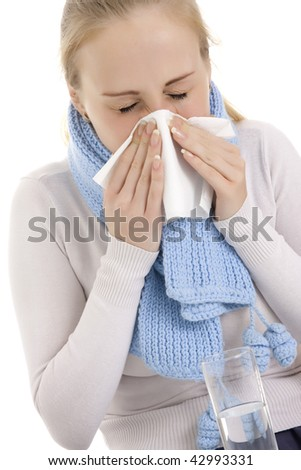 Woman feeling sick. Isolated over white background.