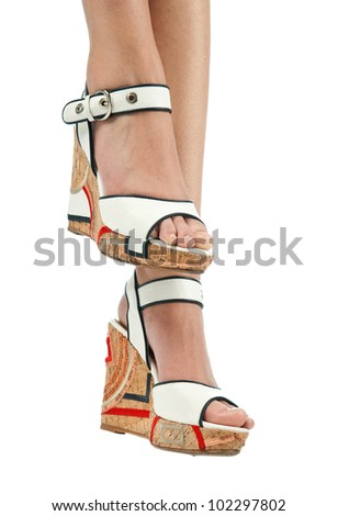 woman feet in fashion summer sandals shoes - stock photo