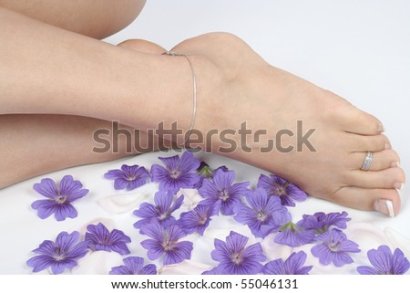 Woman  feet legs and flowers  over white - stock photo