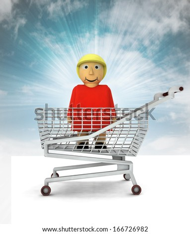 woman figure as shopping customer with sky illustration - stock photo
