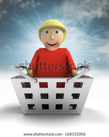woman figure character as trade merchandise with sky flare illustration - stock photo