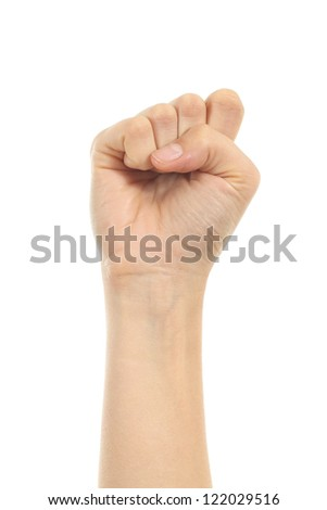 Woman fist up in a white isolated background