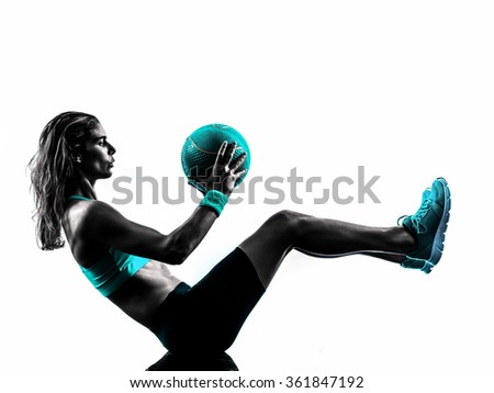 woman fitness Medicine Ball exercises silhouette - stock photo