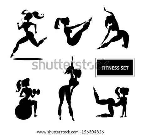 Woman fitness set. Illustration isolated on a white background