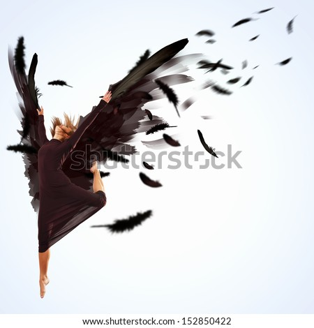 Woman floating in a dance on dark wings. Collage. - stock photo