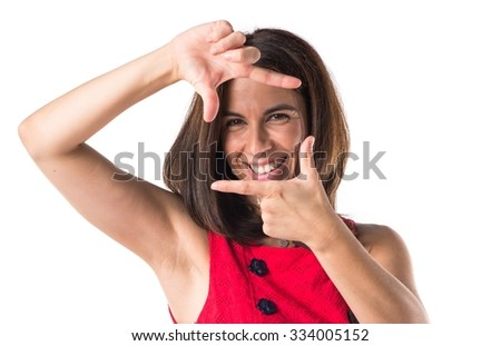 Woman focusing with her fingers