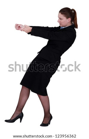 Woman gesturing on white background - stock photo