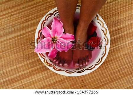 Woman getting a getting relaxing massage in salon - stock photo