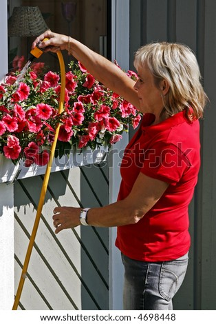 woman gives her garden flowers some water