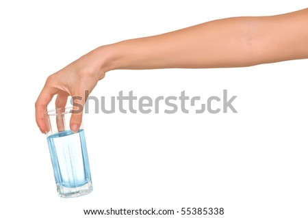 woman giving a glass with blue water
