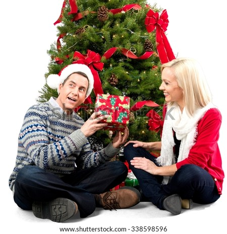 Woman Giving Christams Gift for Man - Isolated