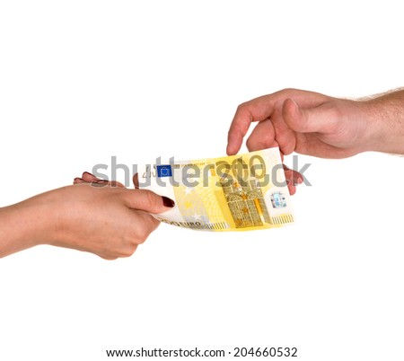 Woman giving 200 euro banknote to a man, isolated on white - stock photo