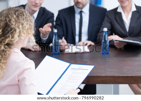 Woman Giving References Recruiters During Job Stock Photo Royalty