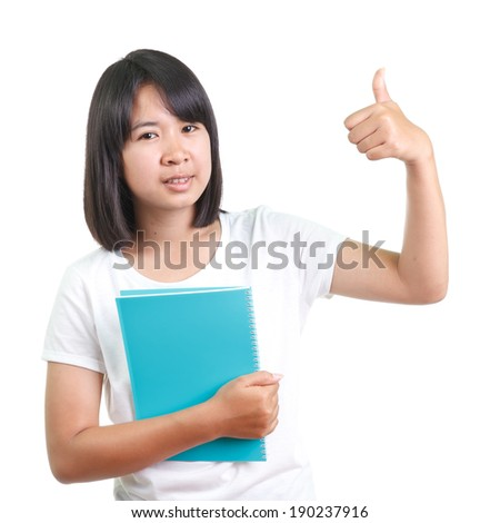 Woman giving thumbs - stock photo