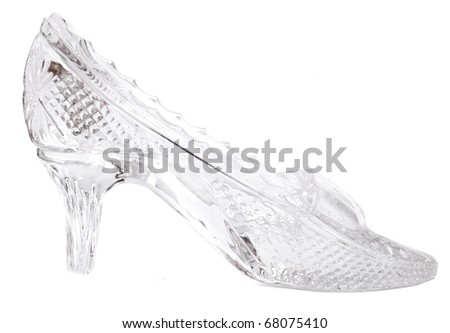 woman glass shoe with reflection isolated on black background - stock photo