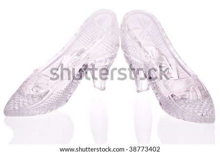 woman glass shoes with reflection isolated on white background - stock photo