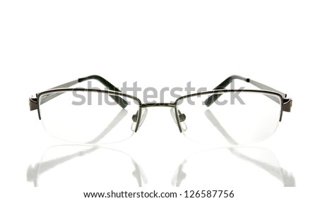 Woman glasses isolated on white with reflection - stock photo