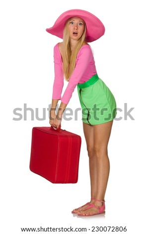 Woman going on summer vacation isolated on white - stock photo