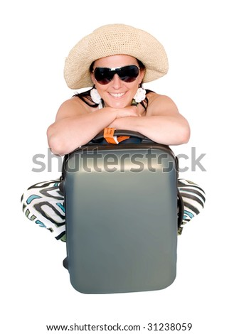 woman going on vacation with suitcase over white - stock photo