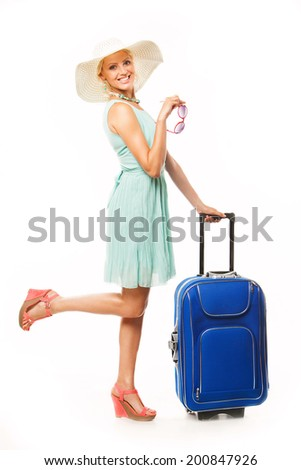Woman going to summer vacation on white