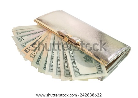 Woman golden purse with a lot of dollar notes spreading out of it isolated on white - stock photo