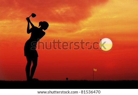 woman golf player tee off during sunset silhouetted - stock photo