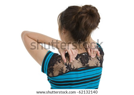 woman got neck pain, isolated on white background - stock photo