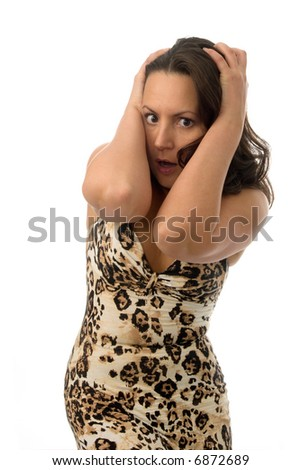 woman grabbing her head with hands in great surprise isolated on white