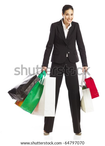 Woman guilty of shopping - stock photo