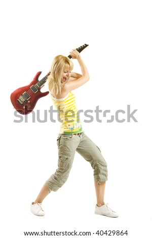 woman guitarist trying to  break her electric guitar