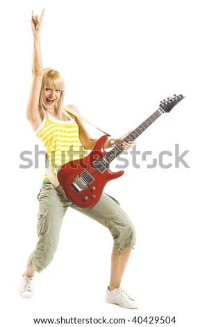 woman guitarist with hand in the air over white background