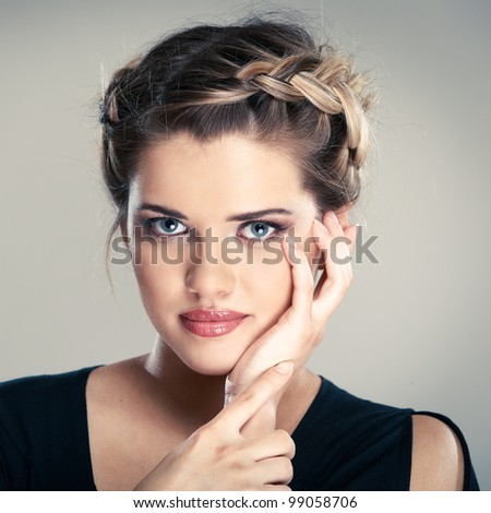 Woman hair style portrait . isolated on gray. close up face - stock photo