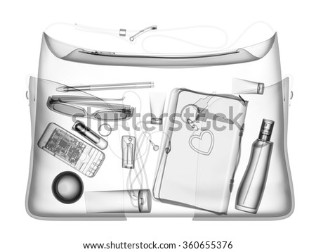Woman hanbag under xray on security control black and white - stock photo