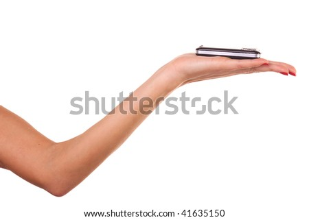 Woman hand and mobile phone. Isolated on white.