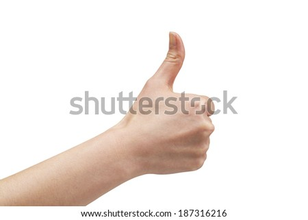 woman hand and with thumb up isolated on white background. - stock photo