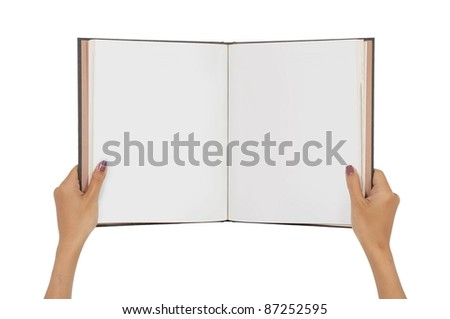 woman hand carrying blank magazines isolated on white background - stock photo