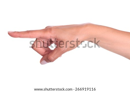 Woman hand finger pointing isolated on white background. Alpha. One finger. Hands showing your product. Forefinger.  - stock photo