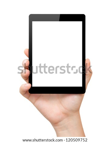 woman hand hold a mini tablet touch pad computer gadget with isolated screen - stock photo