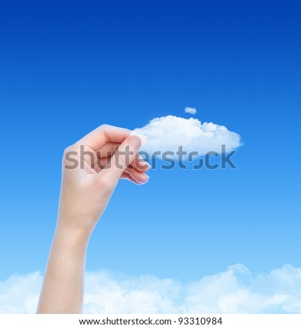 Woman hand hold the cloud against blue sky with clouds. Concept image on cloud computing and eco theme with copy space.