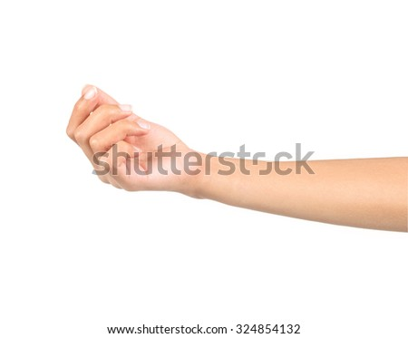 Woman hand hold virtual business card, credit card or blank pape - stock photo