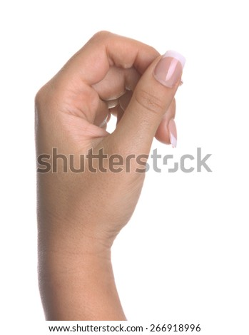 Woman hand hold virtual business card. Isolated on white. - stock photo