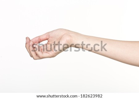 Woman hand hold virtual business card,  isolated on white background