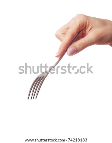 Woman hand holding a fork on white background - stock photo