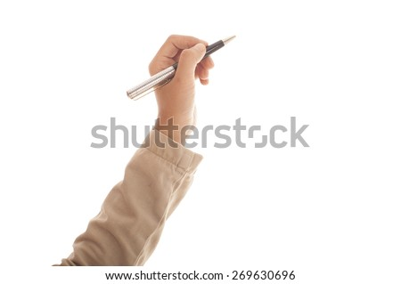 Woman hand holding a pen. - stock photo