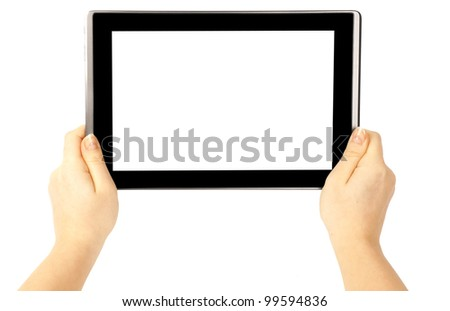 Woman hand holding a tablet and finger touches the screen - stock photo